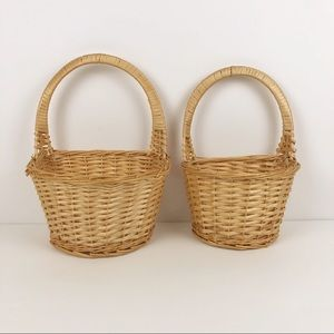 Vintage Honey Wicker Woven Wall Planter Basket Set